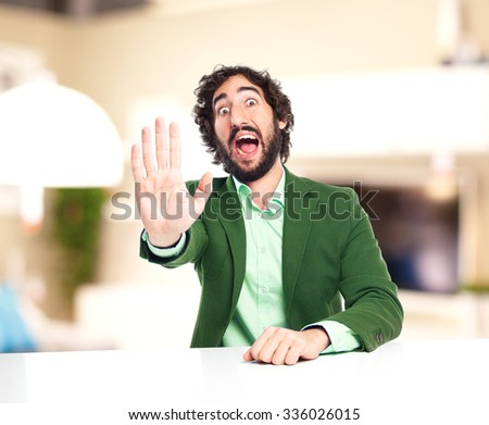 scared businessman stop gesture - stock photo