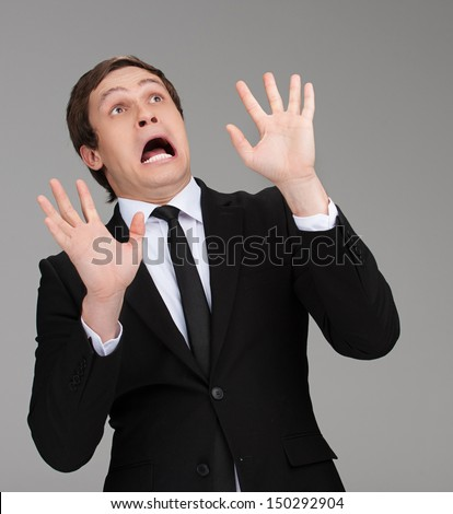 scared businessman terrified young businessman looking