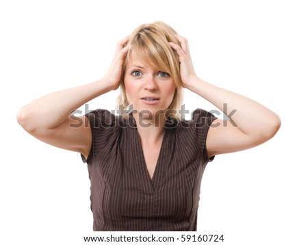 scared businesswoman with hands on the head isolated on white background