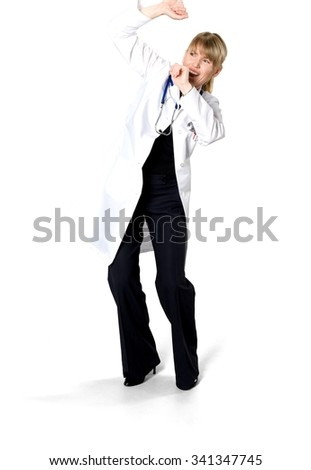 Scared Caucasian woman medium blond in uniform defending with body - Isolated - stock photo