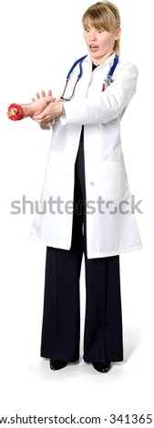 Scared Caucasian woman medium blond in uniform holding severed hand - Isolated