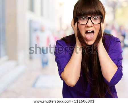 Scared Face Of Woman, Outdoor - stock photo