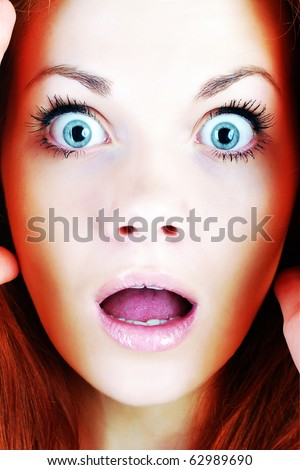 Scared face of women - stock photo