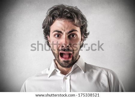 scared guy - stock photo