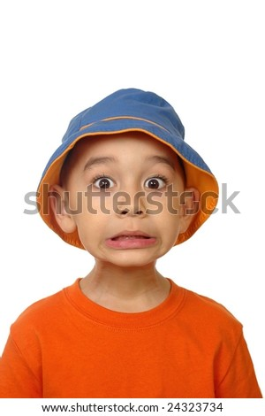 scared kid, 5 years old - stock photo