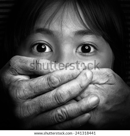 Scared little asian girl, Black and white tone, Violence concept - stock photo