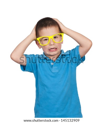 Scared little boy isolated on white background  - stock photo