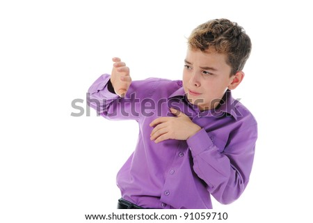 Scared Little Boy. Isolated on white background - stock photo