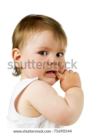 Scared little boy with his finger in his mouth, isolated on white. - stock photo