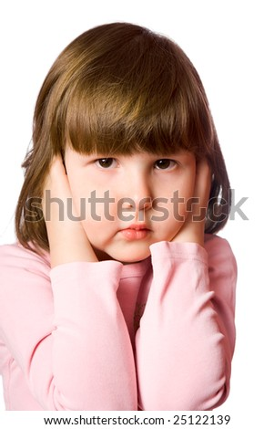 Scared little girl Shutting ears isolated on white - stock photo
