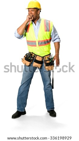 Scared Male Construction Worker with short black hair in uniform with hands covering mouth - Isolated - stock photo