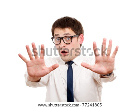 Scared man isolated over white. - stock photo