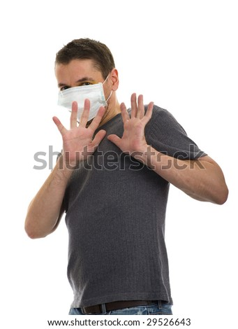 scared man wearing a face mask, isolated on white - stock photo