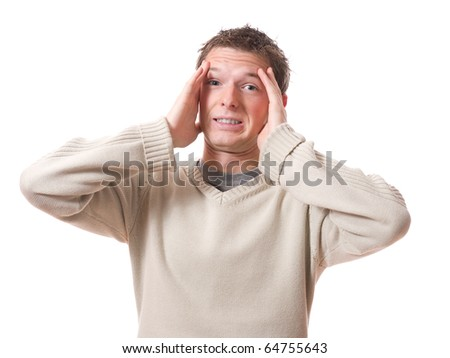 scared man with hands on the head isolated on white background - stock photo