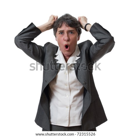 scared mature businesswoman tearing her hair isolated on white background - stock photo