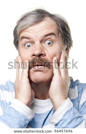 scared mature man portrait isolated on white background - stock photo