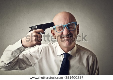 Scared of committing suicide - stock photo