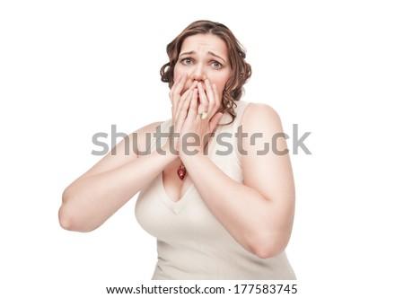 Scared plus size woman - stock photo