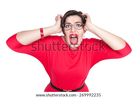 Scared screaming beautiful plus size woman in red dress isolated on white background - stock photo