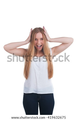 Scared woman screaming - stock photo