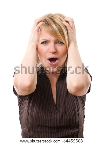 scared woman screaming with hands on the head isolated on white background
