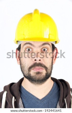 scared workers building - stock photo