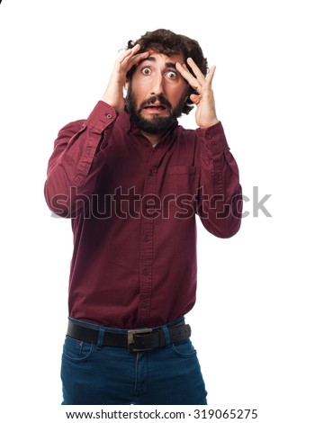 scared young man worried - stock photo