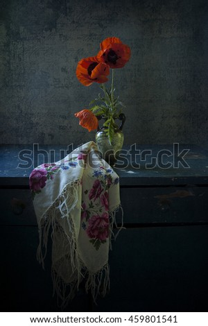 scarf and red poppies