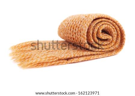 scarf closeup isolated on white - stock photo