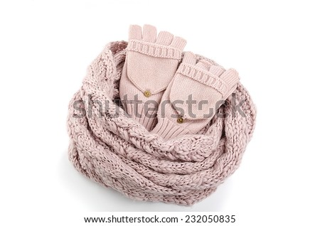 scarf with gloves on a white background - stock photo