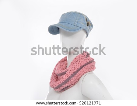 scarf with hat on female mannequin
