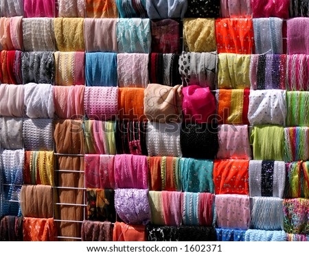 scarfs in the market (Jerusalem). - stock photo