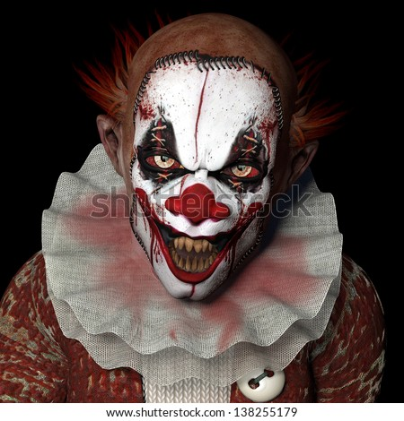 Scarier Clown 1: A scarier clown with sharp pointy teeth glaring at you. Isolated on a black background. - stock photo