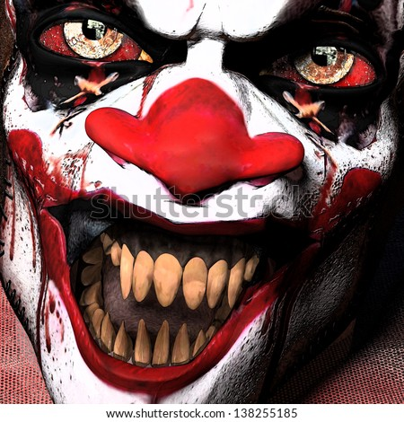 Scarier Clown Close-up: A closeup of a scarier clown with sharp pointy teeth glaring at you. - stock photo