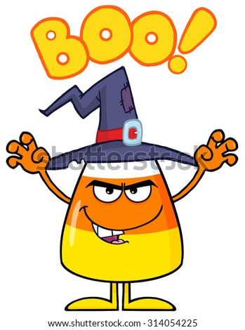 Scaring Halloween Candy Corn With A Witch Hat And Text. Raster Illustration Isolated On White - stock photo