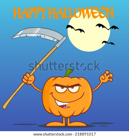 Scaring Halloween Pumpkin With A Scythe Greeting Card Raster Illustration