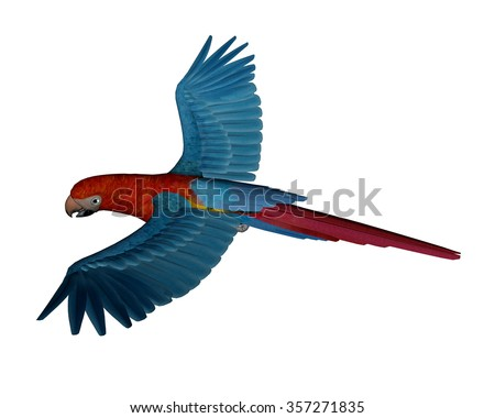 Scarlet macaw, parrot, flying isolated in white background - 3D render - stock photo