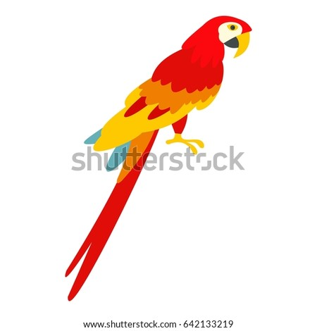 Scarlet macaws icon flat isolated on white background  illustration