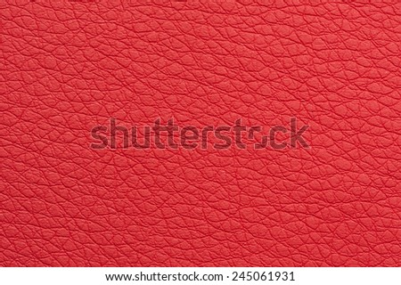 Scarlet Red Artificial Leather Background Texture Close-Up  - stock photo