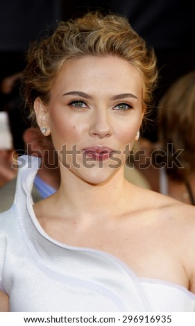 Scarlett Johansson at the Los Angeles premiere of 'Iron Man 2' held at the El Capitan Theatre in Hollywood on April 26, 2010.   - stock photo