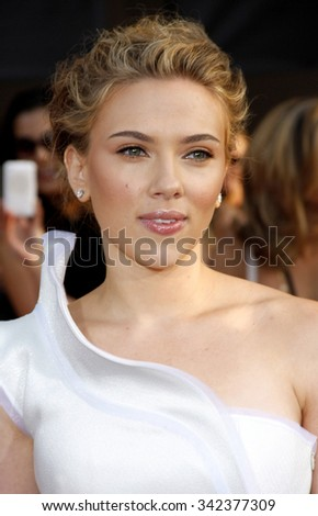 "Scarlett Johansson at the World Premiere of ""Iron Man 2"" held at the El Capitan Theater in Hollywood, California, United States on April 26, 2010.  - stock photo"