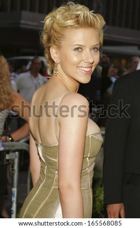 Scarlett Johansson, wearing Cartier earrings, at THE ISLAND Premiere, The Ziegfeld Theater, New York, NY, July 11, 2005