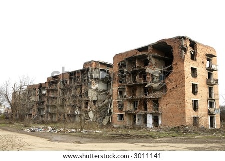 Scars of war in Grozny, Chechnya - stock photo