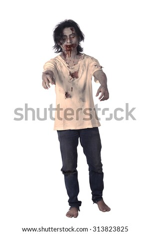 Scary asian male zombie isolated over white background - stock photo