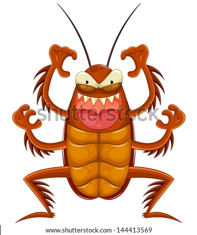 scary cartoon cockroach (vector available in my gallery) - stock photo