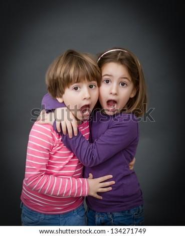 scary children - stock photo