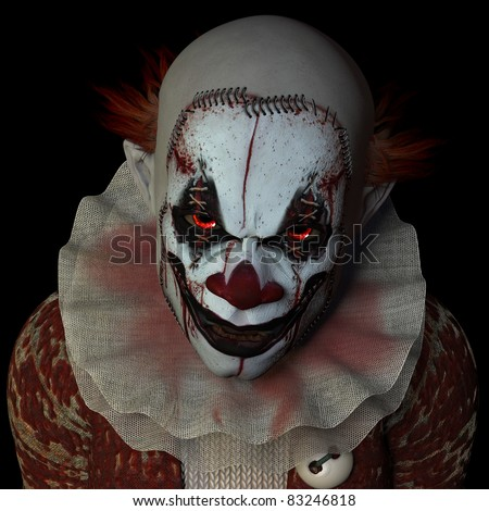Scary clown glaring at you. Isolated on a black background. - stock photo