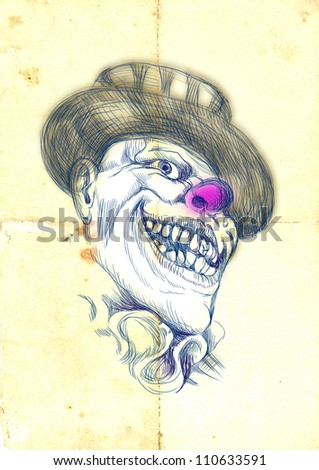 Scary clown. Hand-drawn image using a digital tablet. The image is in the foreground of the old paper.