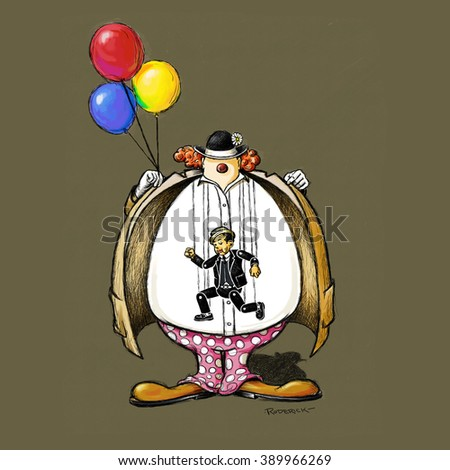 Scary Clown with balloons, polka dot pants and big floppy shoes, opens his coat up to reveal a marionette puppet.  - stock photo