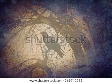 Scary crow on a tree branch concept calling and crowing in a mystical magical dark forest on a grunge old vintage background texture as a symbol for fear and mystery. - stock photo
